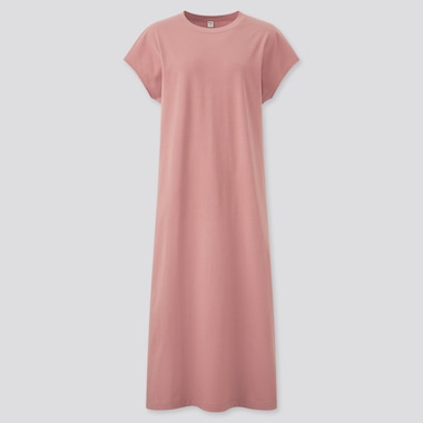 Women Smooth Cotton French Sleeve Long Dress, Pink, Medium