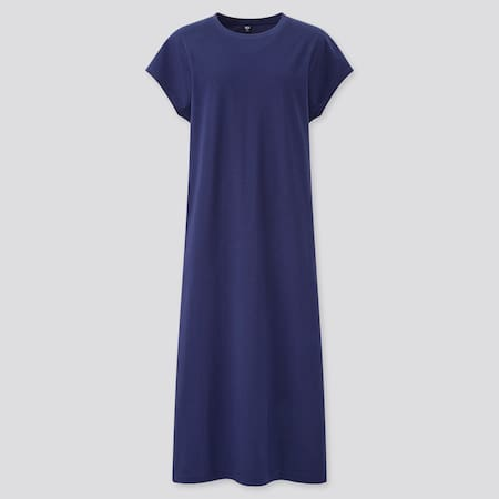 Women Smooth Cotton French Sleeved Long Dress