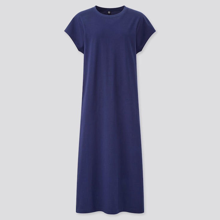Women Smooth Cotton French Sleeve Long Dress, Blue, Large