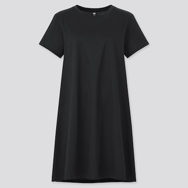 Women Mercerized Cotton Short-Sleeve Mini Dress, Black, Medium