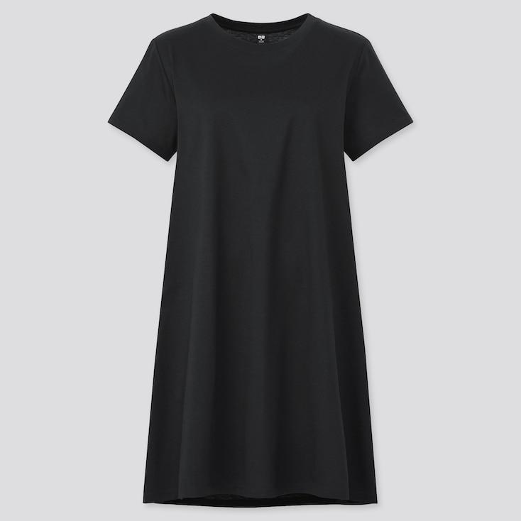 Women Mercerized Cotton Short-Sleeve Mini Dress, Black, Large