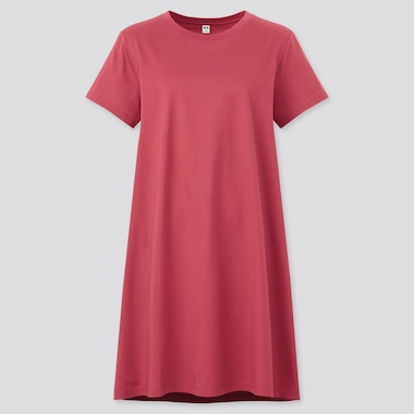 Women Mercerised Cotton Short Sleeved Mini Dress