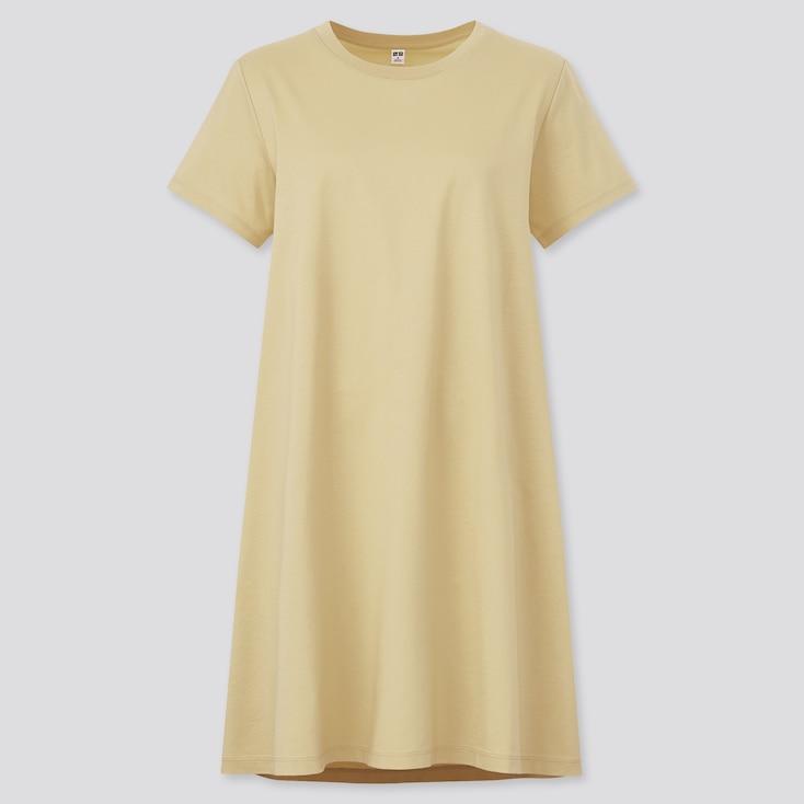 Women Mercerized Cotton Short-Sleeve Mini Dress, Yellow, Large