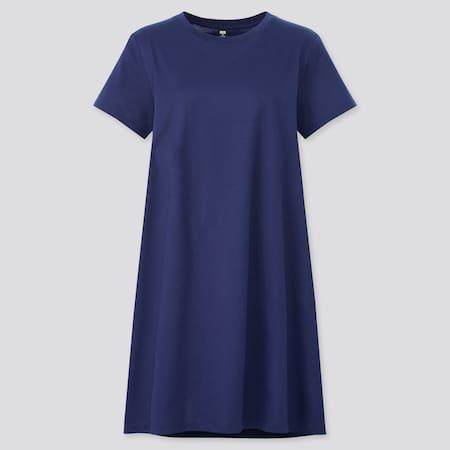 Women Mercerised Cotton Short Sleeved Mini Dress