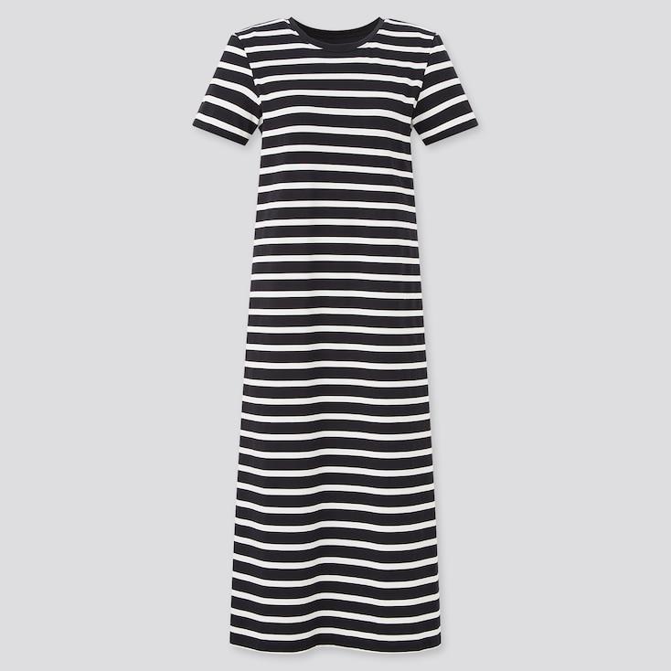 Women Airism Cotton Striped Short-Sleeve Long Bra Dress, Black, Large