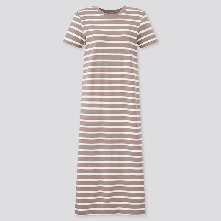 Women Airism Cotton Striped Short-Sleeve Long Bra Dress, Brown, Large