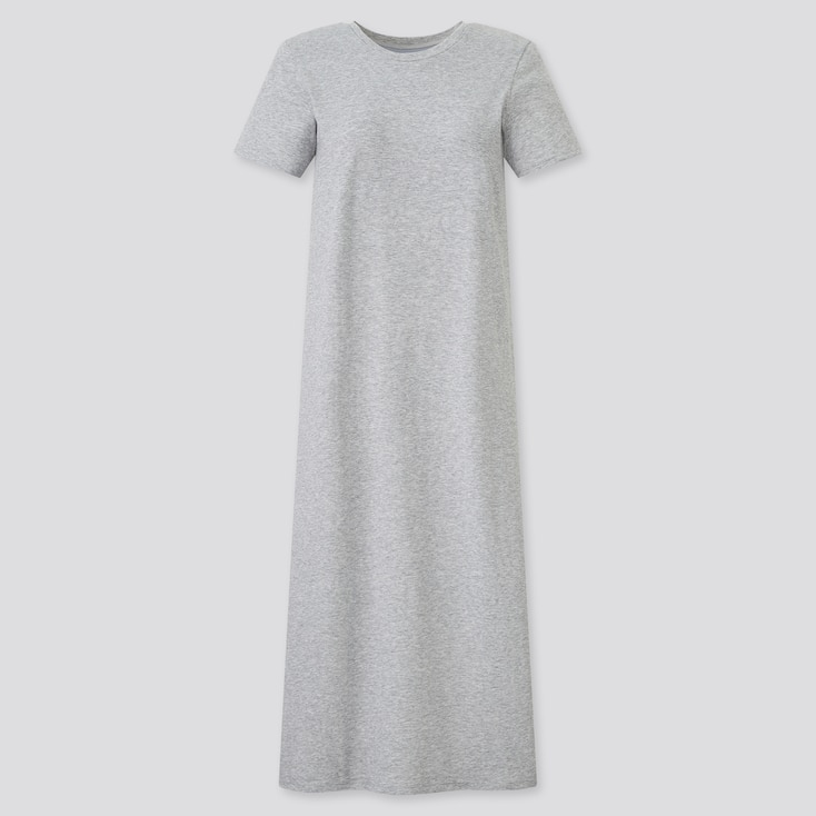 Women Airism Cotton Short-Sleeve Long Dress, Gray, Large