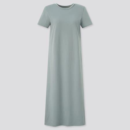 Women AIRism Cotton Short Sleeved Long Bra Dress