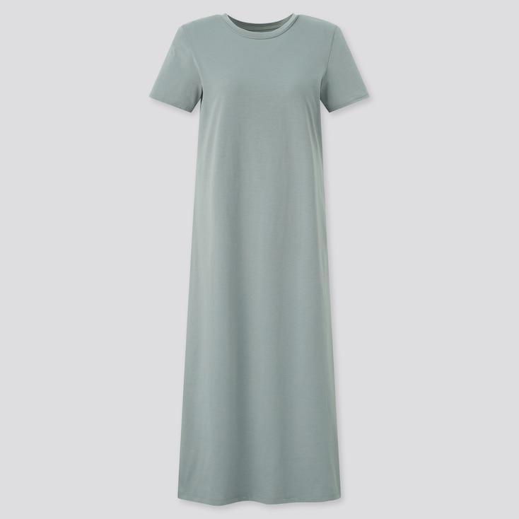 Women Airism Cotton Short-Sleeve Long Dress, Green, Large