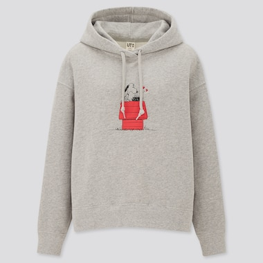 Women Peanuts Long-Sleeve Sweat Hoodie, Gray, Medium