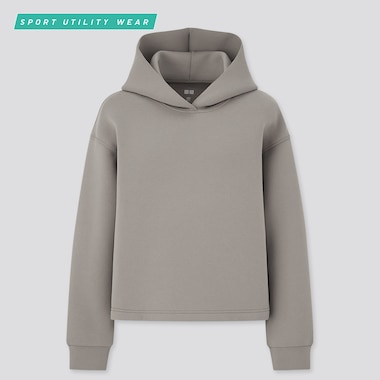 Women Ultra Stretch Dry Sweat Pullover Hoodie, Gray, Medium
