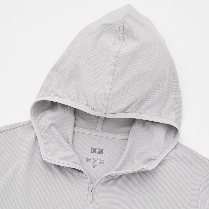 Women Airism Uv Protection Mesh Long-Sleeve Full-Zip Hoodie, Light Gray, Large