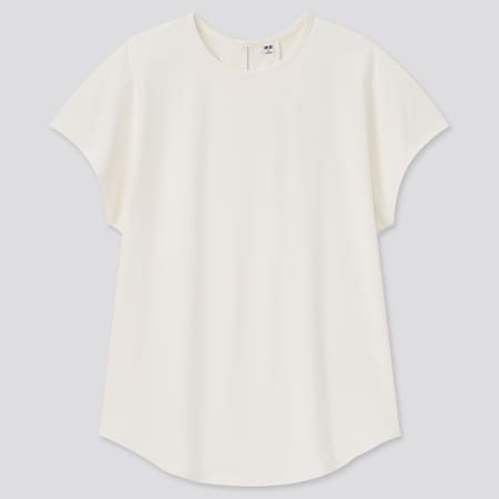Women Crepe Jersey Crew Neck French Sleeved T-Shirt