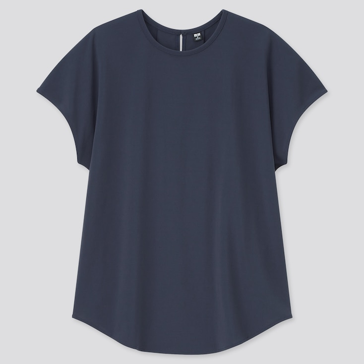 Women Crepe Jersey Crew Neck French Sleeve T-Shirt, Navy, Large