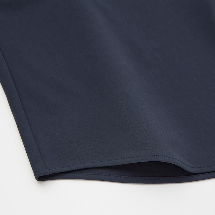 Women Crepe Jersey Crew Neck French Sleeve T-Shirt, Black, Large