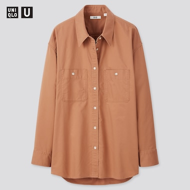 Women Uniqlo U Double Pocket Oversized Fit Long Sleeved Shirt