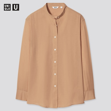 Women Uniqlo U Sheer Band Collar Long Sleeved Shirt