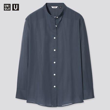Women Uniqlo U Sheer Band Collar Long Sleeved Shirt