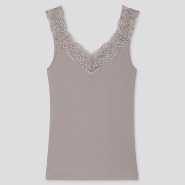 Women Cotton Ribbed Lace Sleeveless Top