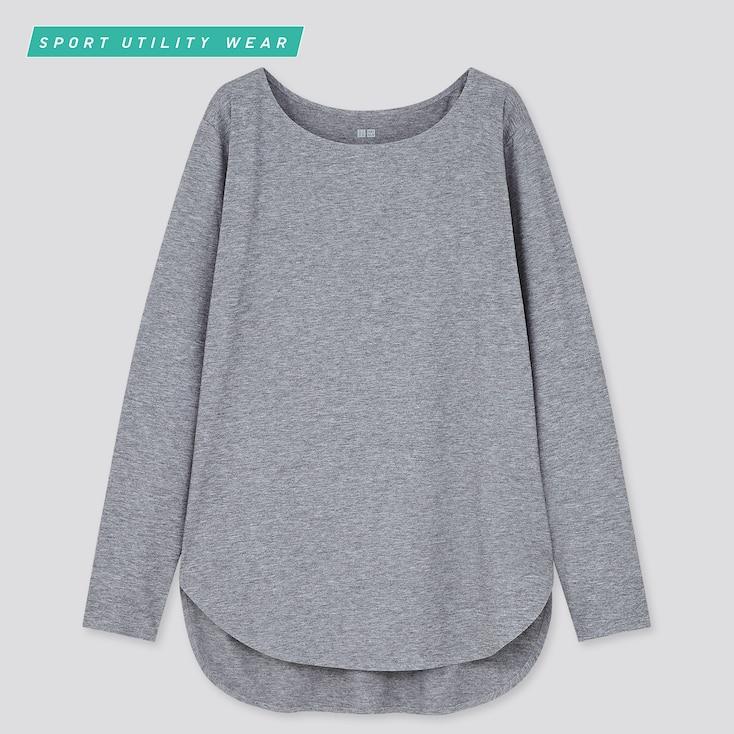 Women Airism Seamless Uv Protection Long T-Shirt, Gray, Large