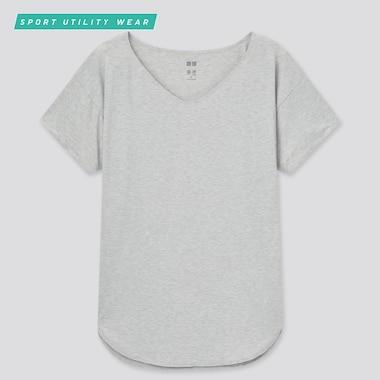 Women Airism Seamless V-Neck Long T-Shirt, Gray, Medium