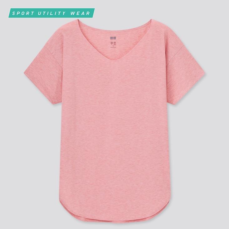 Women Airism Seamless V-Neck Long T-Shirt, Pink, Large