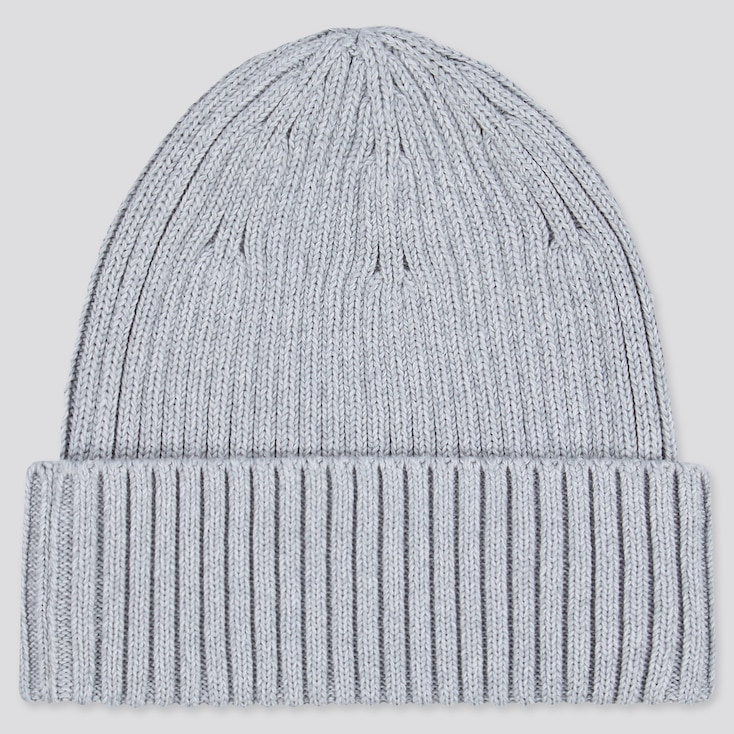 Ribbed Beanie, Gray, Large