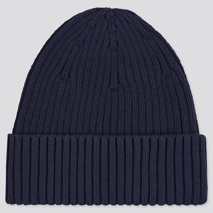 Ribbed Beanie, Navy, Large