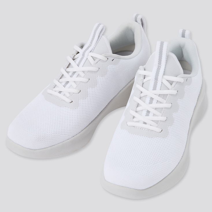 Knit Lace Up Sneakers, White, Large