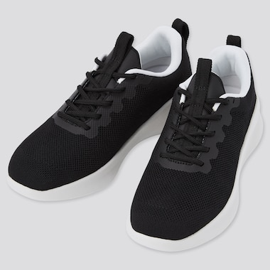 Knit Lace Up Sneakers, Black, Medium