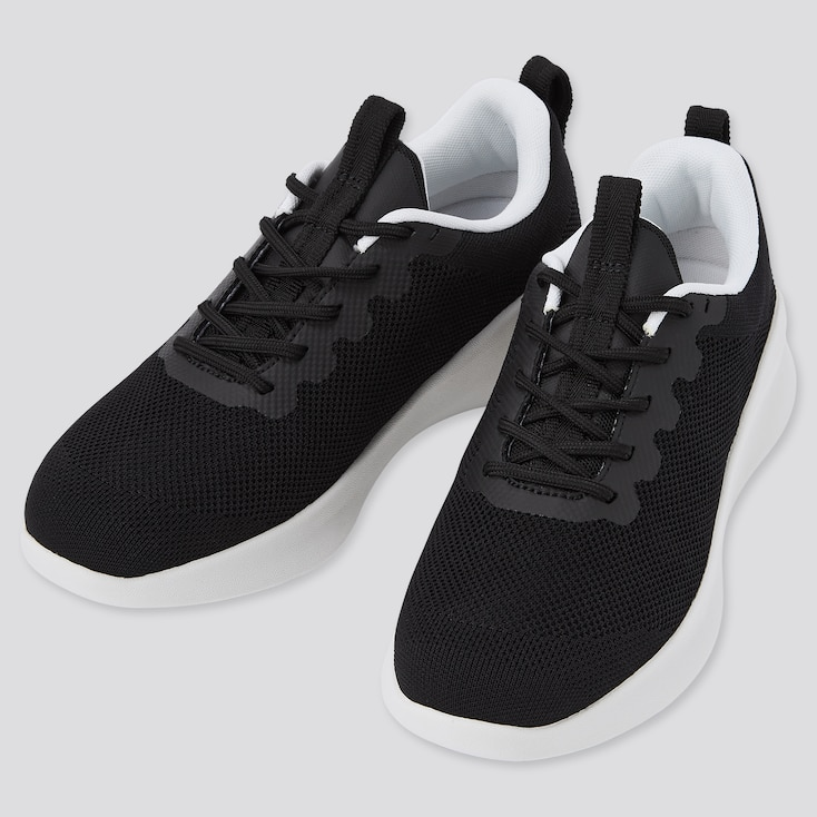 Knit Lace Up Sneakers, Black, Large