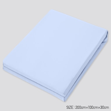 Airism Twin-Size Fitted Bed Sheet, Light Blue, Medium