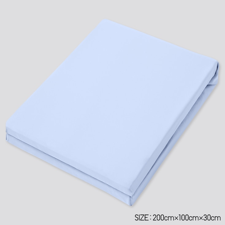 Airism Twin-Size Fitted Bed Sheet, Light Blue, Large