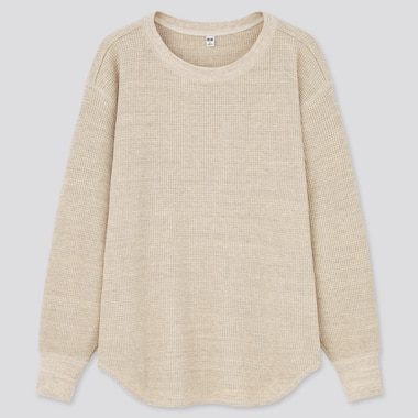 Women Waffle Crew Neck Long-Sleeve T-Shirt, Natural, Medium