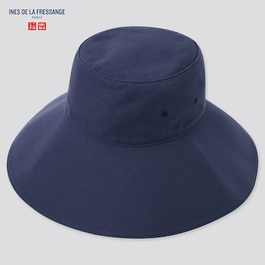 Women Uv Protection Adjustable Wide Brim Hat (Ines De La Fressange), Navy, Medium