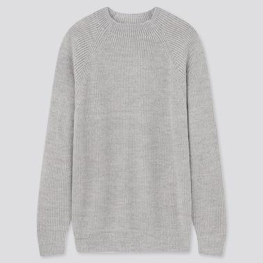Washable Mid-Gauge Crew Neck Long-Sleeve Sweater, Gray, Medium