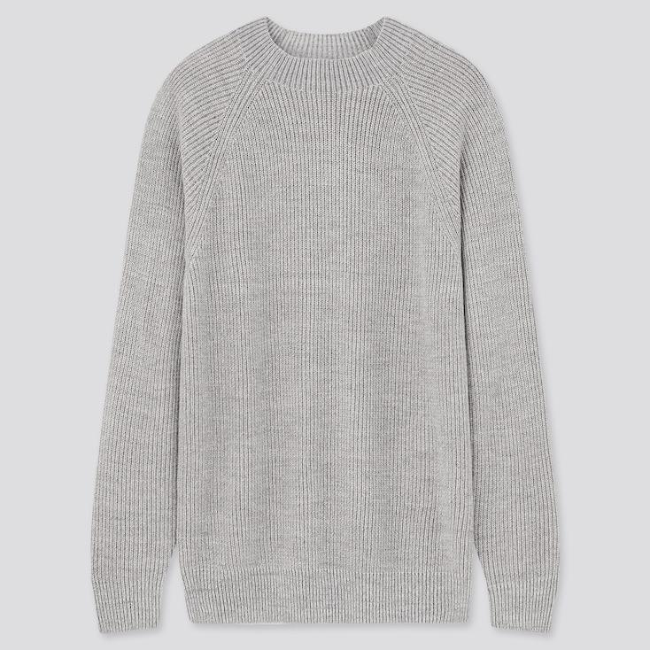 Washable Mid-Gauge Crew Neck Long-Sleeve Sweater, Gray, Large