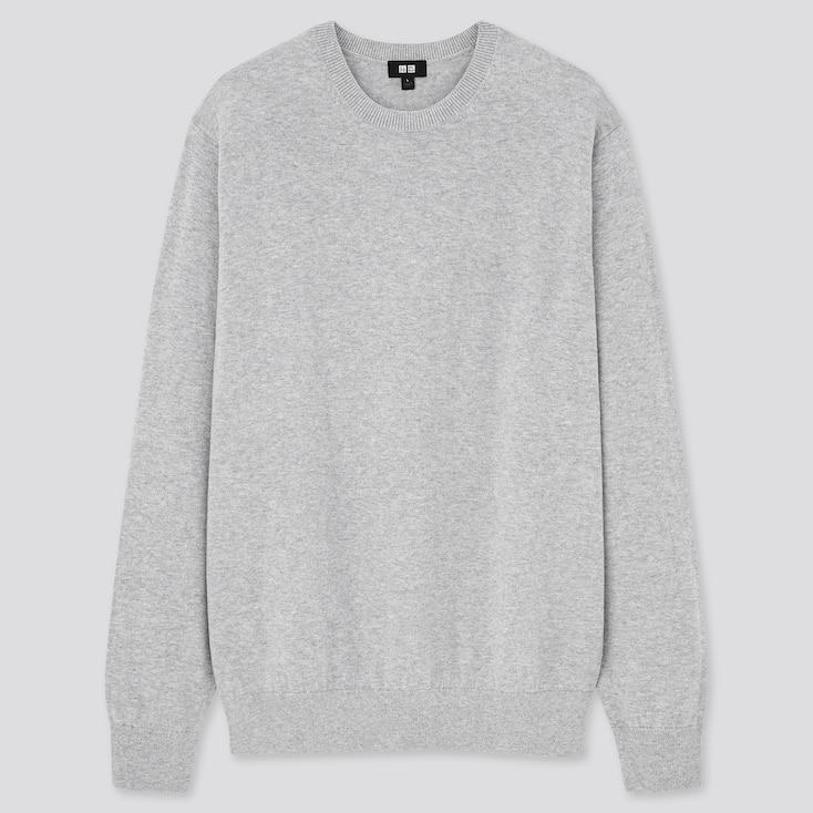 Washable Cotton-Merino Crew Neck Long-Sleeve Sweater, Gray, Large