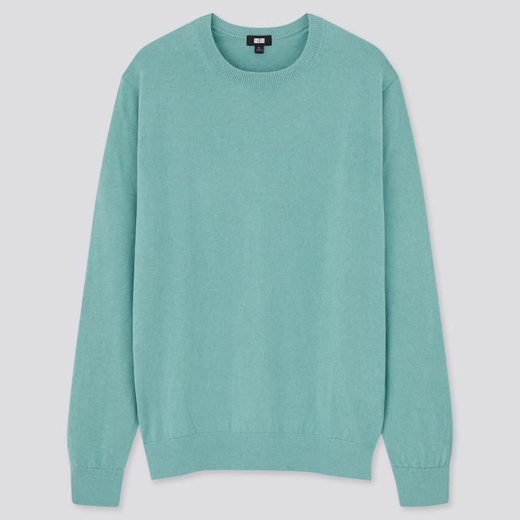 Washable Cotton-Merino Crew Neck Long-Sleeve Sweater, Green, Large