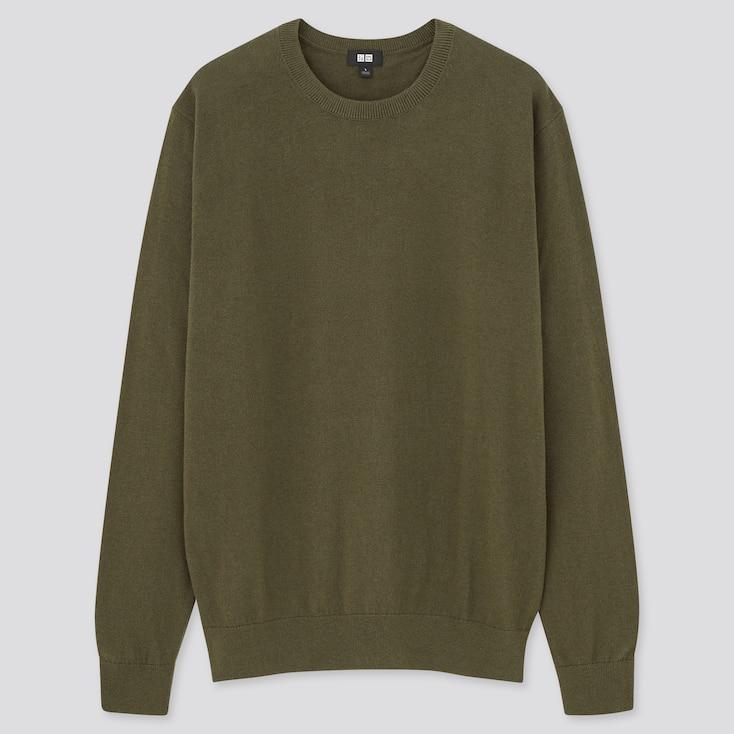 Washable Cotton-Merino Crew Neck Long-Sleeve Sweater, Olive, Large