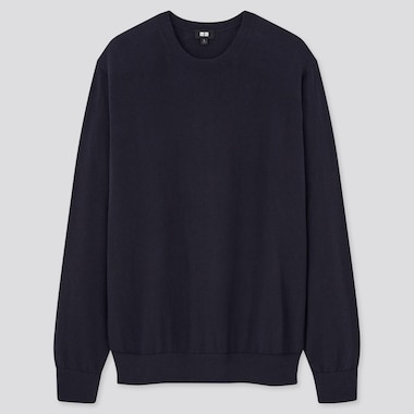 Washable Cotton-Merino Crew Neck Long-Sleeve Sweater, Navy, Medium