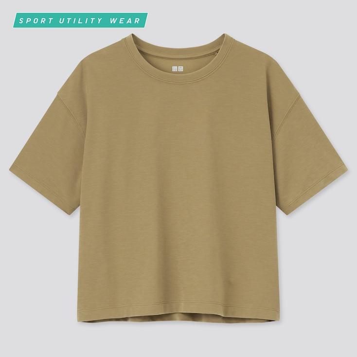 Women Dry-Ex Cropped Crew Neck Short-Sleeve T-Shirtÿ, Brown, Large