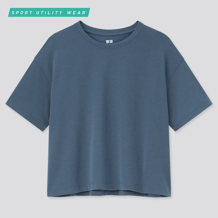 Women Dry-Ex Cropped Crew Neck Short-Sleeve T-Shirt, Blue, Large