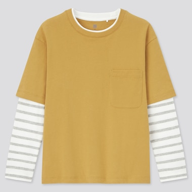 Kids Layered Crew Neck Long Sleeved T-Shirt