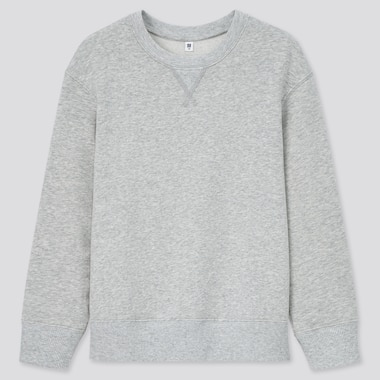 Kids Ultra Stretch Long-Sleeve Sweatshirt, Gray, Medium