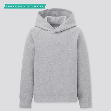 Kids Ultra Stretch Dry Sweat Long-Sleeve Hoodie, Gray, Medium