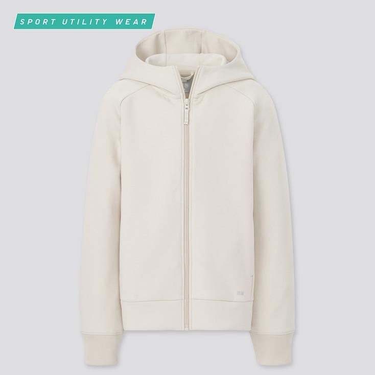 Kids Ultra Stretch Dry Sweat Long-Sleeve Full-Zip Hoodie, Natural, Large