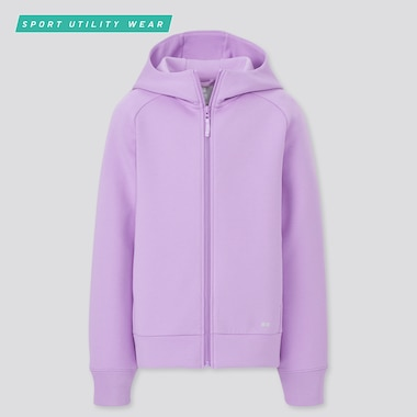 Kids Ultra Stretch Dry Sweat Long-Sleeve Full-Zip Hoodie, Purple, Medium