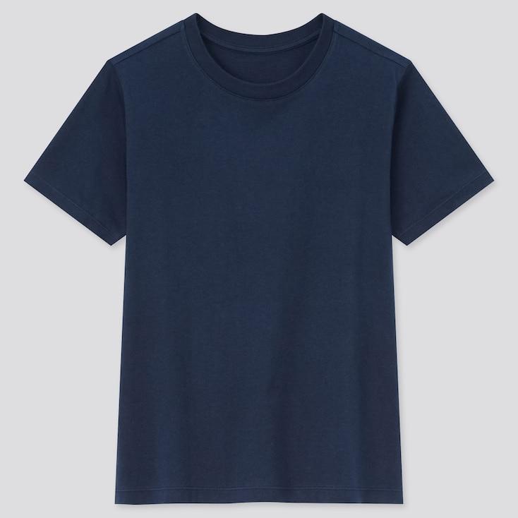 Kids Cotton Color Crew Neck Short-Sleeve T-Shirt, Navy, Large