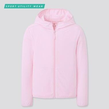 Kids Airism Uv Protection Mesh Hoodie, Pink, Medium